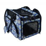 Side view blue polka dots designer dog travel bag
